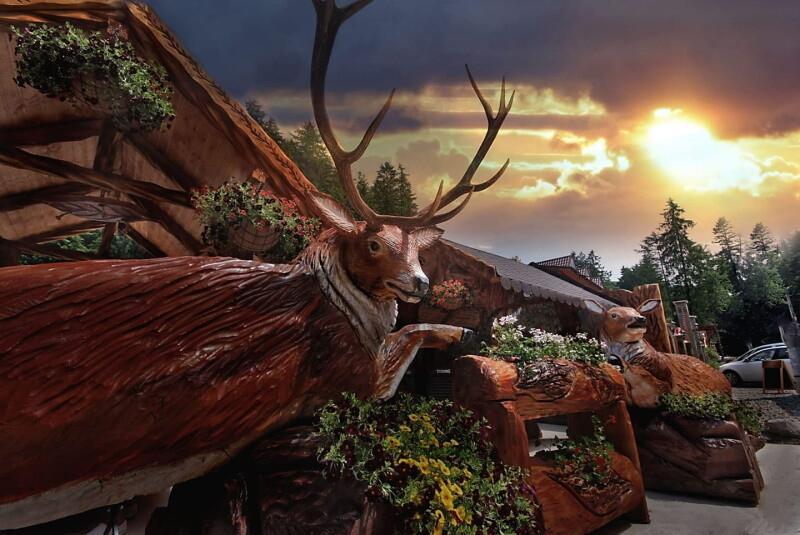 Cerb - Cascada Slanic Moldova - Gabriel Cernat - Sculpturi cu drujba